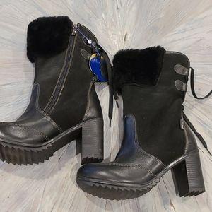 NWT Pajar blk leather & suede heel winter …